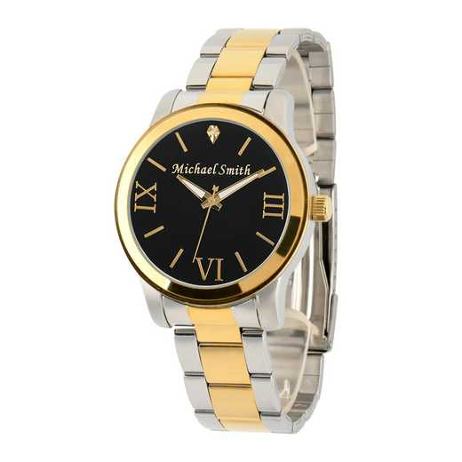 69807-B: Men's Personalized Diamond Accent Two Tone Watch